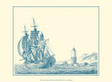Sailing Ships in Blue III Print by Jean Jerome Baugean