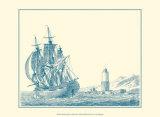 Sailing Ships in Blue III Print by Jean Jerome Baugean