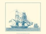 Sailing Ships in Blue II Prints by Jean Jerome Baugean