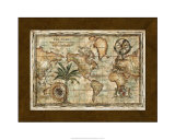World Map with Globe Giclee Print