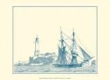 Sailing Ships in Blue I Poster by Jean Jerome Baugean