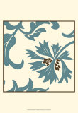 Teal Floral Motif IV Poster by Chariklia Zarris