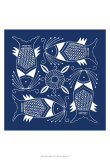Chinese Indigo Fish IV Prints