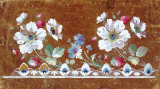 Floral Embroidery Design with Flowers and Strawberries Prints by Jean-Francois Bony