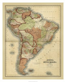 Antique Map of South America Giclee Print by Alvin Johnson