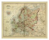 Antique Map of Europe Giclee Print by Alvin Johnson