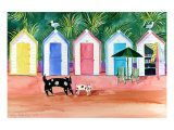 Beach Huts Print by Mary Stubberfield