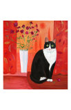 Cat with Carnations Print by Mary Stubberfield