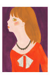 Girl in a Red Dress with a Ribbon Prints by Hiromi Taguchi