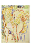 Standing Nude Couple Print by Ernst Ludwig Kirchner