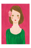 Girl with a Flower Hair Ornament Posters by Hiromi Taguchi