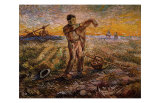Evening, The End of the Day Giclee Print by Vincent van Gogh