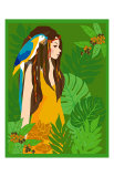 Girl in Tropical Paradise with Blue Bird Prints by Noriko Sakura