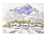 Snow Falls Heavily in Country Side of Japan Prints by Kenji Fujimura