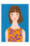 Girl Whose Hair Is Blown by the Wind Prints by Hiromi Taguchi