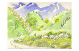 The Countryside Road Covered in Green Print by Kenji Fujimura
