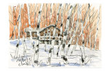 Villa in White Birch Woods, Snow Scene Art by Kenji Fujimura