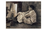 Sien with Cigar Sitting on the Floor Near Stove Print by Vincent van Gogh