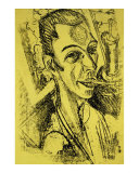 Self-Portrait with Cigarette Prints by Ernst Ludwig Kirchner