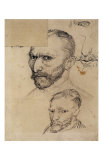 Two Self-Portraits and Several Details Prints by Vincent van Gogh