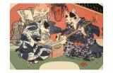 Singing Kimono Cats with Shamisen Art by Daisuke Yamashina