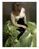 Woman in Green Dress with Black Cat Giclee Print by John White Alexander