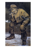 Fishman with a Sou'wester Sitting with a Pipe Prints by Vincent van Gogh