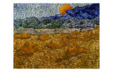 Landscape with Wheat Sheaves and Rising Moon Giclee Print by Vincent van Gogh