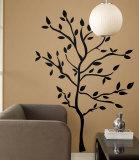 Silhouette d'un arbre avec branches et feuilles Adhésif mural