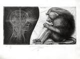 Singe et homme Samlertryk af Pierre Yves Tremois
