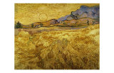 Wheat Field with Reaper and Sun Giclee Print by Vincent van Gogh