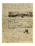 Sketch of Summer Evening in Arles in a Letter to Emile Bernard Giclee Print by Vincent van Gogh