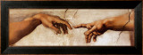 The Creation of Adam, c.1510 (detail) Framed Canvas Print by Michelangelo Buonarroti 