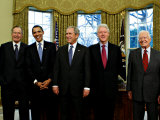 President-elect Barack Obama with All Living Presidents Smiling, January 7, 2009 Fotografie-Druck