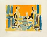 Trois personnages a table Collectable Print by Jacques Lagrange