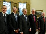 All Living Presidents and President-elect Barack Obama, January 7, 2009 Photographic Print