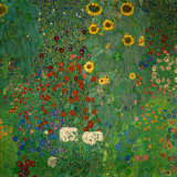 Farm Garden with Sunflowers, noin 1912 Juliste tekijänä Gustav Klimt