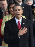 President Barack Obama Sings the National Anthem at the Swearing-In Ceremonies, January 20, 2009 Photographic Print