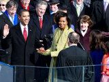 Barack Obama Sworn in by Chief Justice Roberts as 44th President of the United States of America Photographic Print