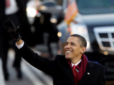 President Obama Waves as He Walks Down Pennsylvania Ave to the White House, January 20, 2009 Photographic Print