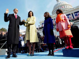 President Barack Obama Takes the Oath of Office with Wife Michelle and Daughters, Sasha and Malia Photographic Print