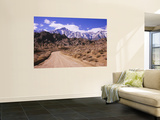 Dirt Road Passing through an Arid Landscape, Lone Pine, Californian Sierra Nevada, California, USA Wall Mural