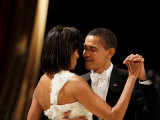 President Obama and First Lady Michelle Obama Dance at the Midwest Inaugural Ball, January 20, 2009 Photographic Print