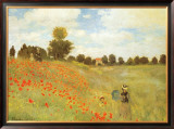 Field of Poppies, c.1886 Framed Canvas Print by Claude Monet