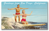 San Diego Surfer Couple Wood Sign