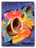 Aloha Ukulele Placa de madeira