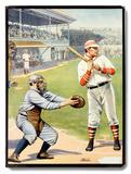 US Baseball at the Plate 'Batter Up!' Poster Wood Sign