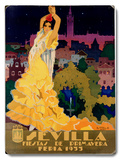 1933 Sevilla Fiesta Wood Sign