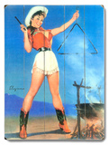Cowgirl Barbeque Pin Up Girl Wood Sign