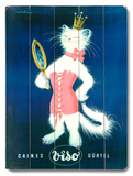 French Cat and Mirror Cosmetic Wood Sign